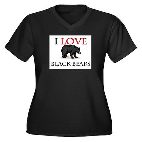 I Love Black Bears Women's Plus Size V-Neck Dark T