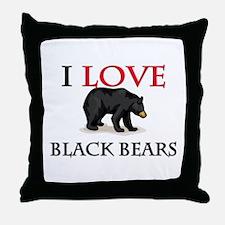 I Love Black Bears Throw Pillow