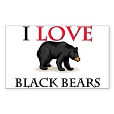 I Love Black Bears Rectangle Decal