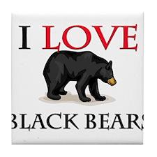 I Love Black Bears Tile Coaster