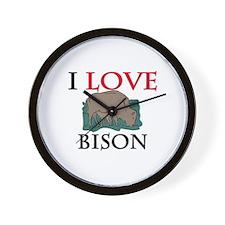 I Love Bison Wall Clock