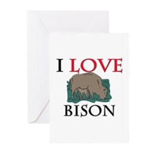 I Love Bison Greeting Cards (Pk of 10)