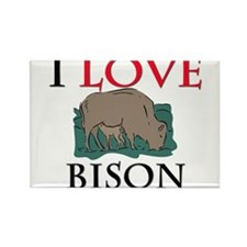 I Love Bison Rectangle Magnet