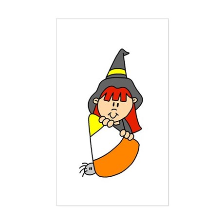 Candy Corn Witch Rectangle Sticker