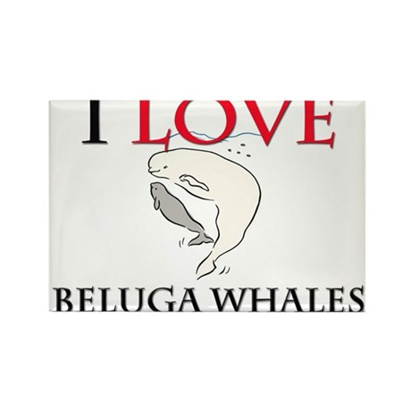 I Love Beluga Whales Rectangle Magnet (10 pack)