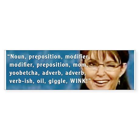 Sarah Palin Winks Bumper Sticker (50 pk)