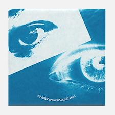 Positive-Negative Blue Tile Coaster