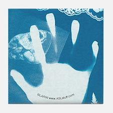Reaching Blue Tile Coaster