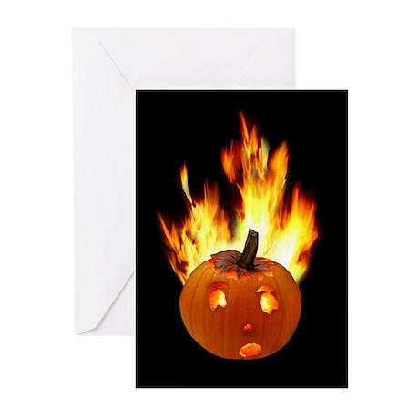 Flaming Pumpkin Greeting Cards (Pk of 10)