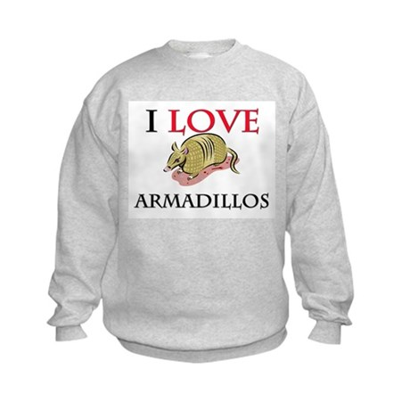 I Love Armadillos Kids Sweatshirt