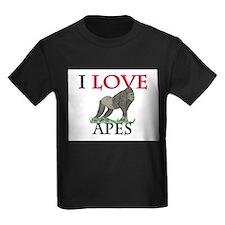 I Love Apes Kids Dark T-Shirt