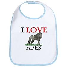 I Love Apes Bib