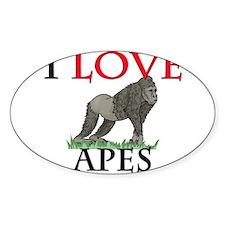 I Love Apes Oval Sticker