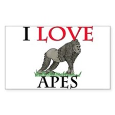I Love Apes Rectangle Sticker