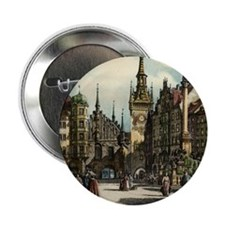 "Old Munich Cityscape 2.25"" Button (10 pack)"