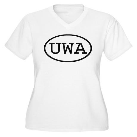 UWA Oval Women's Plus Size V-Neck T-Shirt