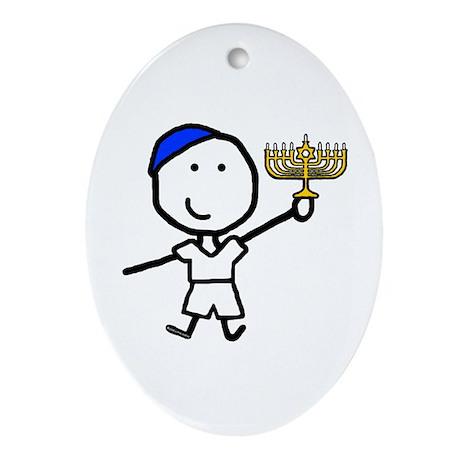 Boy & Hanukkah Oval Ornament