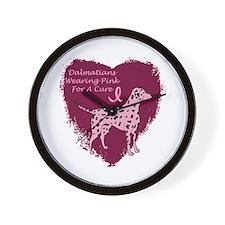 Pink Ribbon Dalmatian Wall Clock