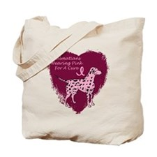 Pink Ribbon Dalmatian Tote Bag