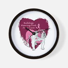 Pink Ribbon Bulldog Wall Clock