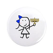 "Girl & Hanukkah 3.5"" Button"