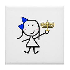 Girl & Hanukkah Tile Coaster