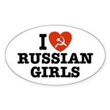 I Love Russian Girls Oval Decal
