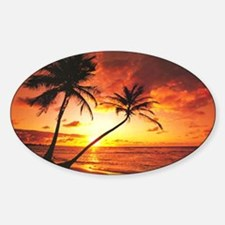 Tropical Beach Sunset Oval Decal