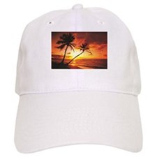 Tropical Beach Sunset Baseball Cap
