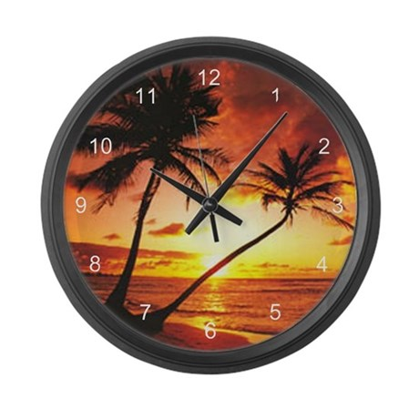 Tropical Beach Sunset Large Wall Clock