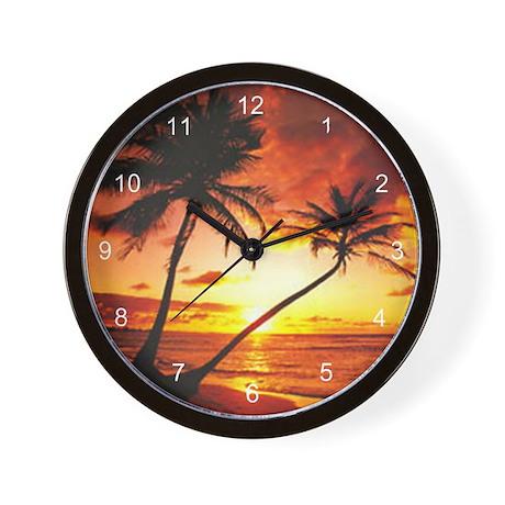Tropical Beach Sunset Wall Clock