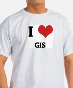 I Love GIS Ash Grey T-Shirt