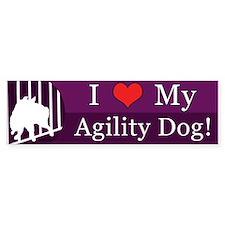 I Love My Agility Dog Bumper Sticker (Purple)
