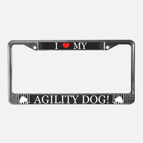 I Love My Agility Dog License Plate Frame (Gray)