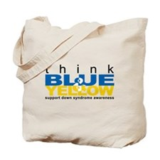 Think Blue And Yellow Tote Bag