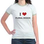 I Love Floral Design Jr. Ringer T-Shirt