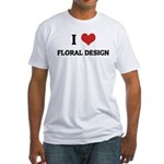 I Love Floral Design Fitted T-Shirt