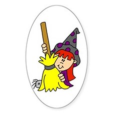 Witch with Broom Oval Decal