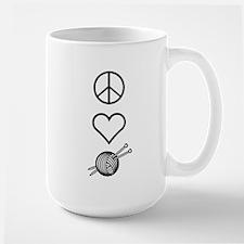 Peace Love Knit Large Mug