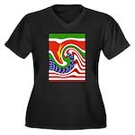 SURINAME Women's Plus Size V-Neck Dark T-Shirt
