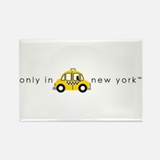Only In New York Taxi_cartoon Rectangle Magnet