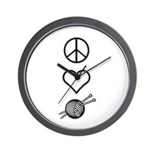 Peace Love Knit Wall Clock