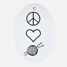 Peace Love Knit Keepsake (Oval)