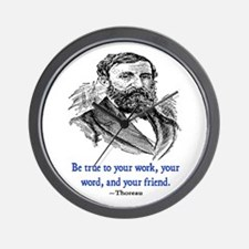 """THOREAU """"TRUE TO"""" QUOTE Wall Clock"""