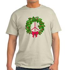 Holly Wreath Peace Sign T-Shirt