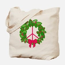 Holly Wreath Peace Sign Tote Bag