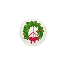 Holly Wreath Peace Sign Mini Button