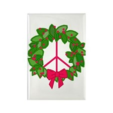 Holly Wreath Peace Sign Rectangle Magnet (100 pack