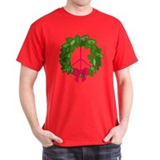 Holly Wreath Peace Sign T-Shirt