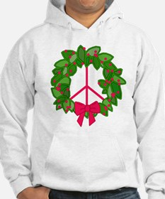 Holly Wreath Peace Sign Hoodie